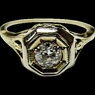 Beautiful 14K Yellow & White Gold Old European Diamond Filigree Ring