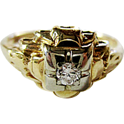 Beautiful 14K Yellow & White Gold European Cut Diamond Ring