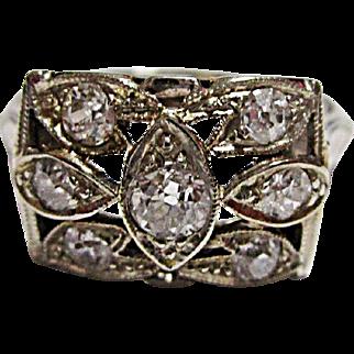 Stunning 14K White Gold European Cut Diamond Ring