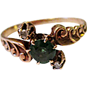 Wonderful 10K Yellow Gold Emerald Doublet & Rose Cut Diamond Ring