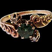 Wonderful 10K Yellow Gold Emerald Doublet & Rose Cut Diamond Ring