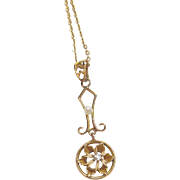 1890's Victorian 10K Yellow Gold 0.02 Mine Cut Diamond Natural Pearl Lavaliere Pendant And Chain