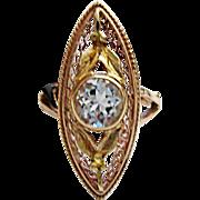 Wonderful 10K Yellow Gold Aquamarine Ring