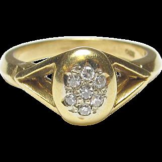 1940's Vintage 18K Yellow Gold Seven Single Cut Diamond Ring 0.10 Cts