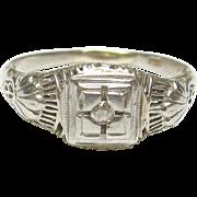 Very Nice 14K White Gold Rose Cut Diamond Filigree Ring