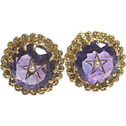 Very Pretty 14K Yellow Gold Amethyst & Seed Pearl Star Earrings