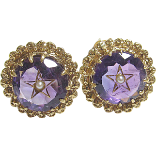 Very Pretty 14K Yellow Gold Amethyst & Seed Pearl Star Earrings