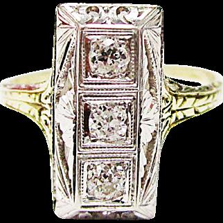 Beatifully Designed 14K Yellow & White Gold Diamond Ring