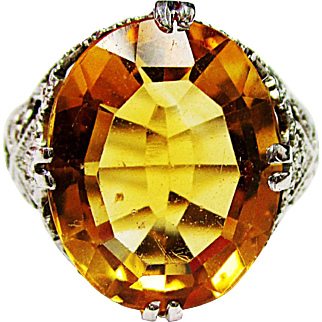 Beautiful 14K White Gold Citrine Ring 4.50 cts