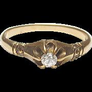 Very Pretty 14K Yellow Gold Mine Cut Diamond Ring