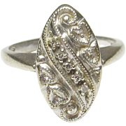 1940's Vintage 14K White Gold Five Single Cut Diamond Ring 0.05 Cts