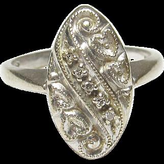 Very Nice 14K White Gold Diamond Heart Design Ring