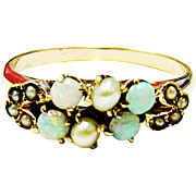 Very Pretty 10K Yellow Gold Opal & Natural Seed Pearl Ring