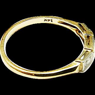 Very Nice 14K Yellow & White Gold Diamond Ring