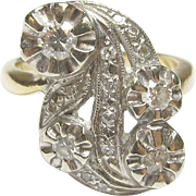 1940's Vintage 14K Yellow And White Single And Brilliant Cut Diamond Ring 0.30 Cts