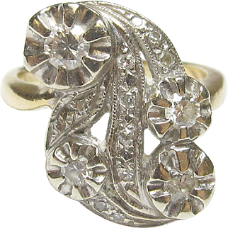 Eye Catching 14K Yellow & White Gold Diamond Ring