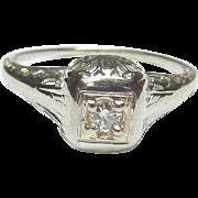 1930's Vintage 18K White Gold 0.04 Ct European Cut Diamond Filigree Ring