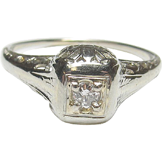 Beautiful 18K White Gold Diamond Original Filigree Ring
