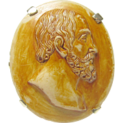 1920's Vintage 14K Yellow Gold Hand Carved Bearded Man Lava Cameo Ring