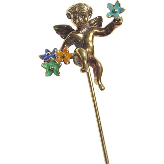 Adorable 14K Yellow Gold Enameled Cherub Stick Pin