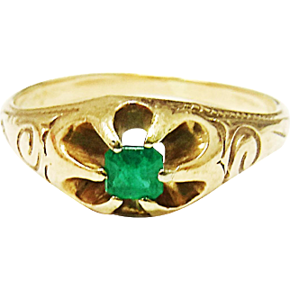 Very Pretty 14K Yellow Gold Emerald Ring