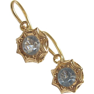 Very Pretty 18K Yellow Gold Blue Glass Earrings