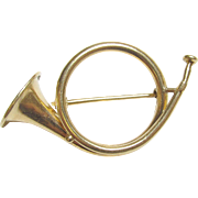 Very Neat 14K Yellow Gold French Horn Brooch