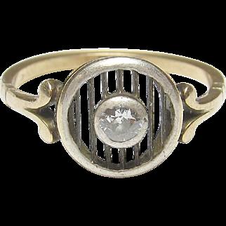 Wonderful 14K Yellow Gold & Platinum Old European Diamond Ring