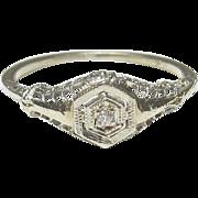 1930's Vintage 18K White Gold 0.01 Ct European Cut Diamond Filigree Ring
