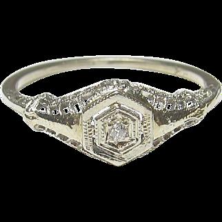Very Pretty Estate 18K White Gold Filigree European Cut Diamond Ring