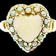 Beautiful 10K Yellow Gold Heart Opal Ring