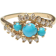 1960's Vintage 14K Yellow Gold Natural Blue Turquoise And Diamond Ring 0.40 Cts