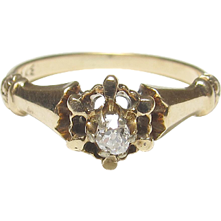 Wonderful 14K Yellow Gold Mine Cut Diamond Ring
