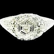 Beautiful 18K White Gold Filigree Diamond Ring