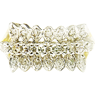 Beautiful 14K Yellow & White Gold Diamond Ring