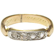 1920's Art Deco 14K Yellow And White Gold Rose Cut Diamond Band Style Ring 0.12 Cts