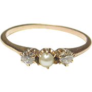 1890's Victorian 14K Yellow Gold Two Mine Cut Diamond And Natural Pearl Ring 0.12 Cts