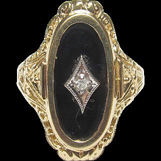 Wonderful 10K Yellow & White Gold Diamond & Black Onyx Ring