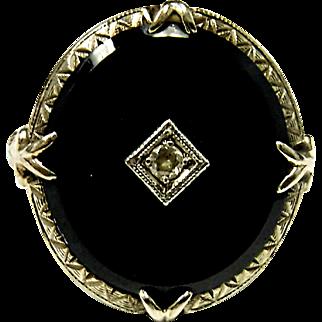 Wonderful Estate 14K White Gold Black Onyx & Diamond Ring