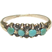1890's Victorian 10K Yellow Gold Four Blue Turquoise Baby Ring