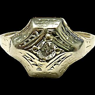 Wonderful Estate 14K Yellow & White Gold Diamond Ring