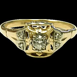 Wonderful 14K Yellow & White Gold Diamond Ring