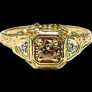 Beautiful 14K Yellow & White Gold Cognac & White Diamond Ring