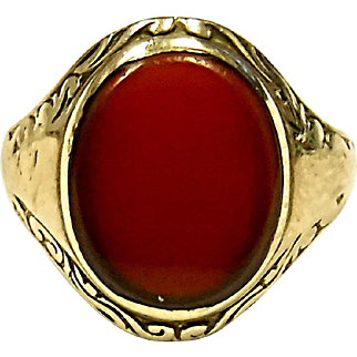 Adorable 10K Yellow Gold Carnellian Agate Baby's Ring