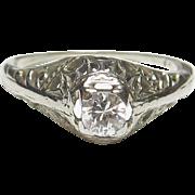 1930's Vintage 14K White Gold 0.18 Ct European Cut Diamond Filigree Ring