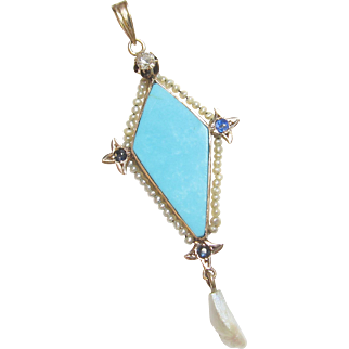 1890's Victorian 10K Yellow Gold Natural Turquoise, Seed Pearl, Diamond Lavaliere Pendant