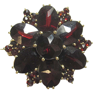 1950's Vintage Gold Filled Natural Round And Oval Red Garnet Brooch 15.00 Cts