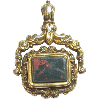 1890's Victorian Gold Filled 6.00 Ct Natural Bloodstone Spinning Fob Pendant