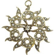 1890's Victorian 10K Yellow Gold 0.06 Ct Mine Cut Diamond Natural Seed Pearl Brooch/Pendant