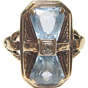1930's Vintage 10K White Gold Natural Blue Topaz And Diamond Ring 3.00 Cts